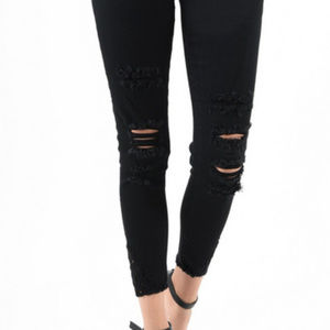 Denim - Kancan black distressed jeans with ankle detail